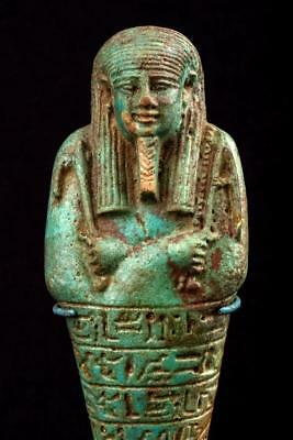 "Superb Egyptian Pale Blue & Green Faience Ushabti, New Kingdom, 8½"" T... Lot 504"