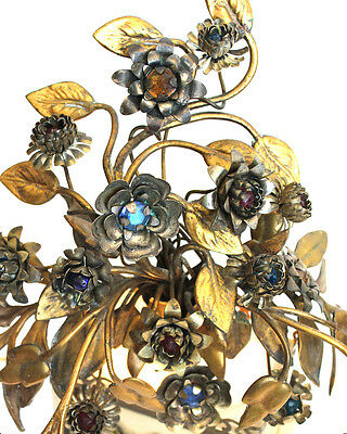 Pair ANTIQUE FRENCH Antique Jeweled Tole Floral Figural LAMPS Rare 3