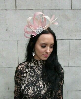 Dusky Blush Pink Champagne Silver Fascinator Feather Sinamay Wedding Races 7449 2