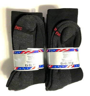 3/ 6/ 12 Pair HANES Men's Black Cotton Stretch Athletic Work Crew Sock Size10-13