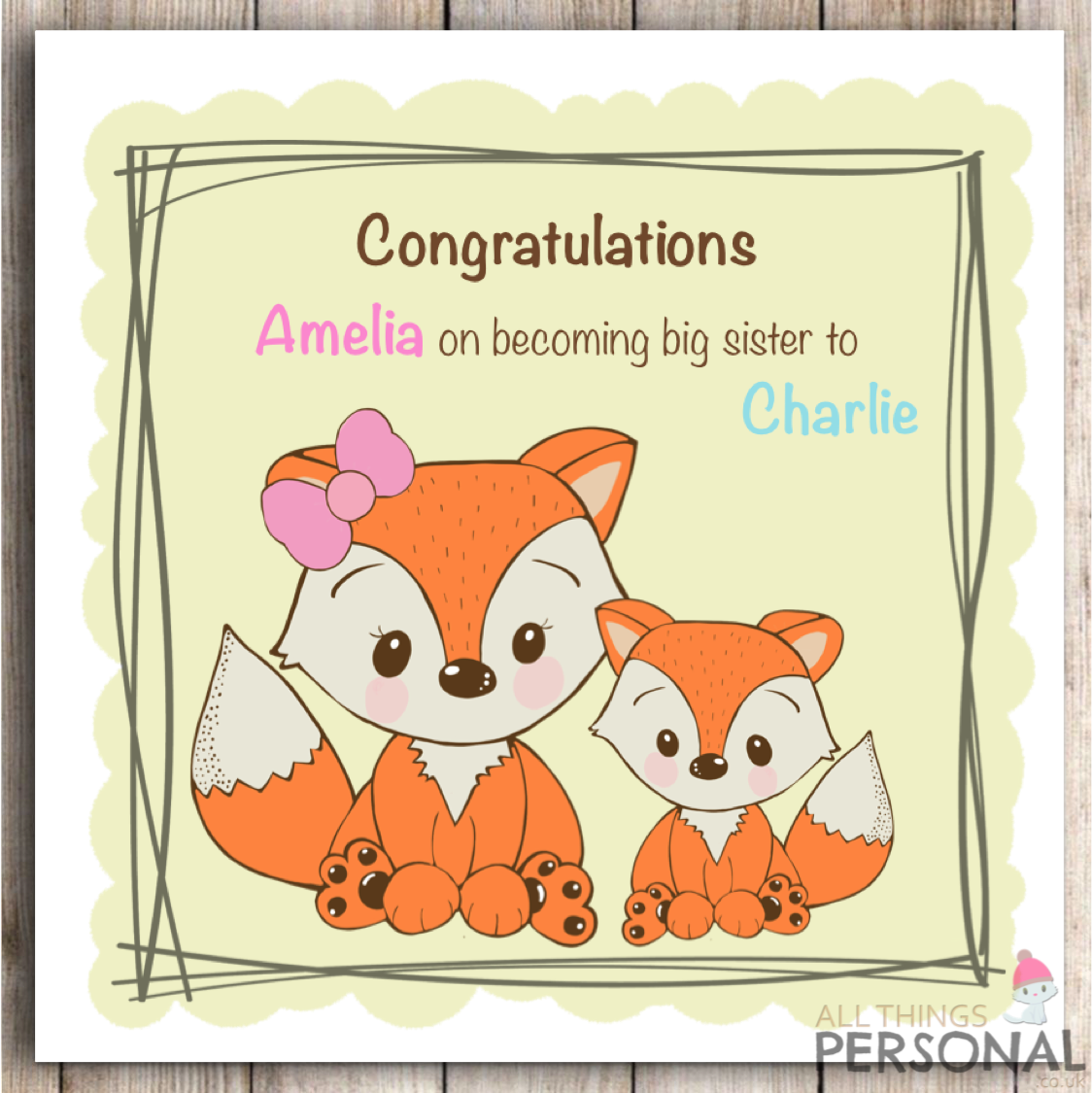 BIG SISTER TO NEW BABY SISTER FREEPOST PRETTY PERSONALISED