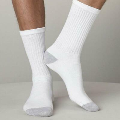 Davido Mens socks crew 100% cotton made in Italy white / gray 6 pairs size 9-11 3
