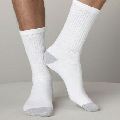 Davido Mens socks crew long 100% cotton made in Italy white/gray 6 pack 9-11 3