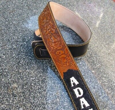 Custom Padded Leather Guitar Strap Personalized With Your Name. 3