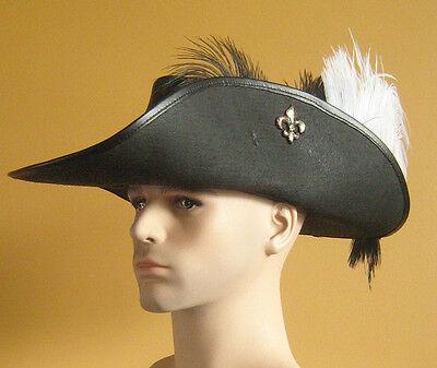 Medieval Renaissance SCA Larp Leather Musketeer Hat with Fleur de Lys wt Belt