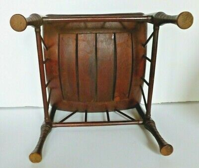 Antique Thebes Stool Wooden Egyptian Revival Arts and Crafts Period Circa 1900 7