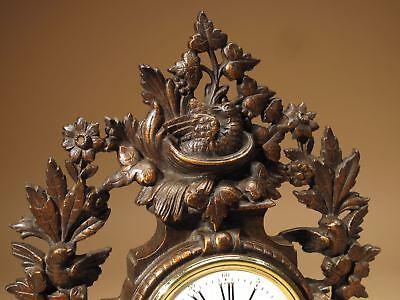 Rare Old Brown Colour Gild Cast iron Alarm mantel Clock Circa: 1890-1900 5