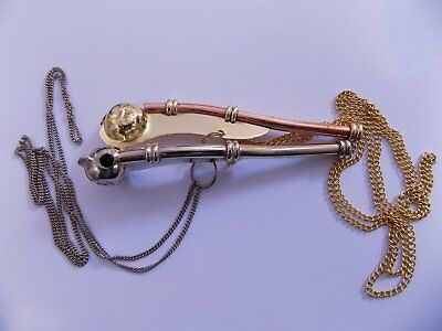 """Brass Boatswain Whistle 5"""" With Chain Bosun Call Pipe Nautical - Set Of 2 chain 5"""