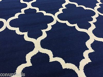 Moroccan Trellis Lattice Navy Blue Area Rugs 2x3 2x7 5x7
