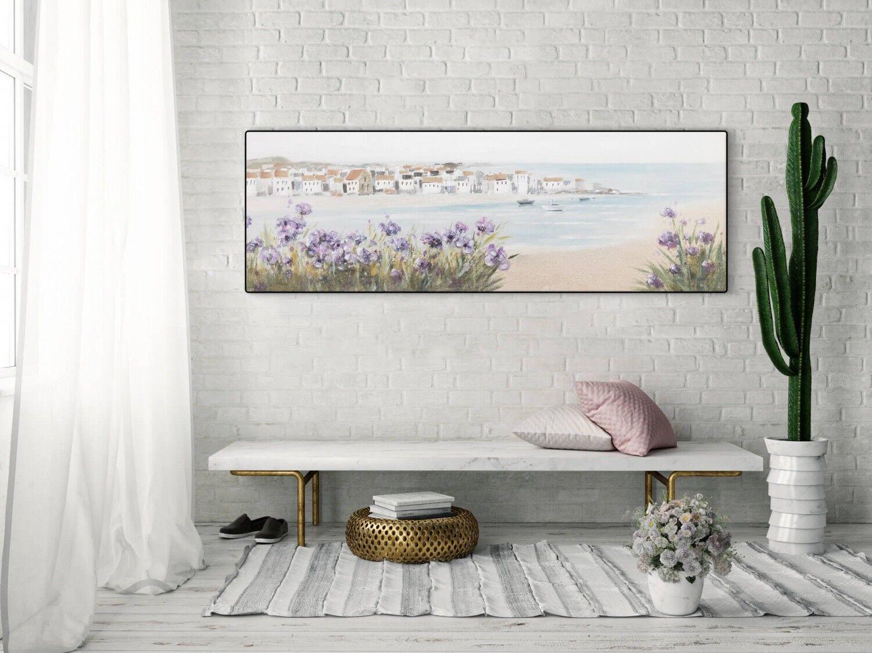 Acryl Gemälde 'MEDITERRANER TRAUM' | HANDGEMALT | Leinwand Bilder 150x50cm 4