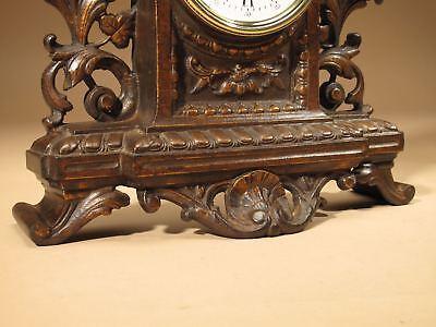 Rare Old Brown Colour Gild Cast iron Alarm mantel Clock Circa: 1890-1900 7