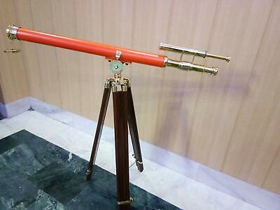 Nautical Brass Telescope Double Barrel Orange Powder Coating With Wooden Tripod 5