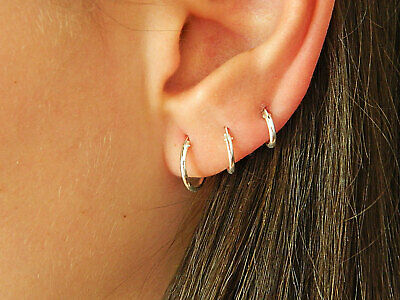 925 Sterling Silver Solid Classic Hoop Ring Earrings Lip Ear Nose Body Piercing 10