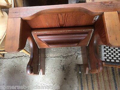 Interesting Victorian 3 Seater Stripped Pitch Pine Church Pew Bench Seat 6ft