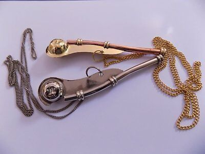 """Brass Boatswain Whistle 5"""" With Chain Bosun Call Pipe Nautical - Set Of 2 chain 6"""