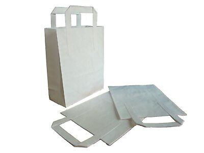 Large White Kraft Craft Paper Sos Carrier Bags Lunch Dinner Take Away Wholesale 4