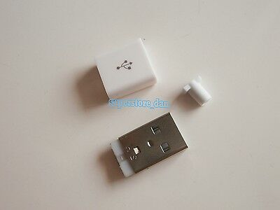 10X USB 2.0 Type-A Plug 4-pin Male Adapter Solder Connector /& White Cover 2 Hole