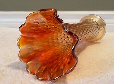 Vintage Northwood; Marigold-Carnival-Glass Diamond-Point Stretch-Swung 9-IN Vase 7