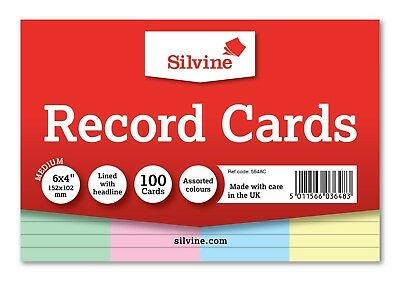 Revision/Flash/Index Silvine Record Cards - White/Ruled/Coloured FREE P&P 4