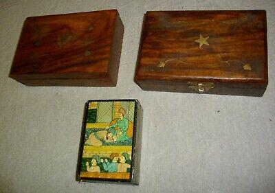 tres joyeros de madera y metal (( vintags)) 17- 16- 8 ctms 2