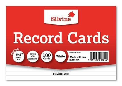 Revision/Flash/Index Silvine Record Cards - White/Ruled/Coloured FREE P&P 6
