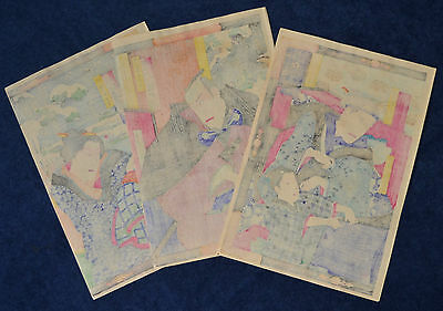 Superb Antique Japanese Woodblock Prints Tryptich By Chikanobu Dated 1884 7