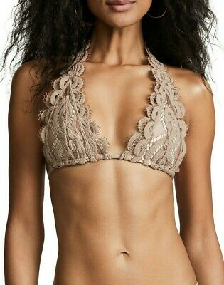 PilyQ Sandstone Lace Halter Bikini set sz D cup top /& S bottom beige