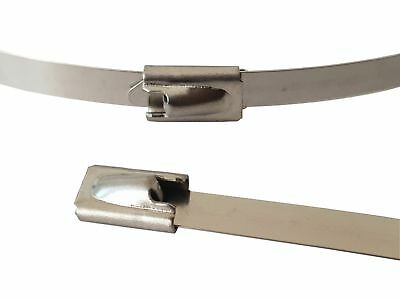 10x Edelstahl Kabelbinder 360 x 4,6mm ; Metall bis 500°C 46kg Zugfestigkeit