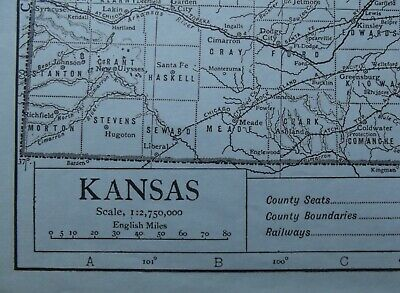 Vintage Map: Kansas, United States, by Emery Walker, 1926, B/W 2
