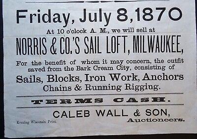 x RARE Auction Broadside Steamer Ship Bark Cream City Wreck Milwaukee WI 1870