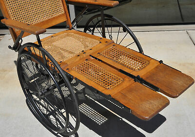 Antique Cane Back Wheelchair Oak Metal Three Wheel Chair Old 520 C Adjustable 12
