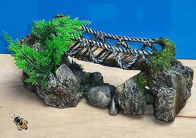 Aquarium Ornament Rock Rope Bridge Fish Tank Rock Decoration New 3