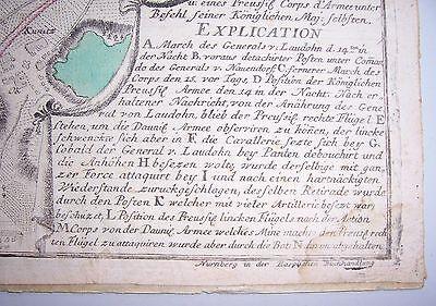 Kolorierte Kupferstich Landkarte Liegnitz Schlesien 1760 General von Laudohn !