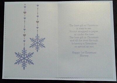 PERSONALISED Handmade A5 Keepsake BABY/'S FIRST 1ST CHRISTMAS Card  X502P//B