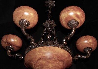 Light fixture chandelier 9 lights solid bronze real alabaster made in America 4