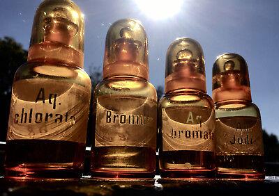 Apotheker - 4 x schicke Glaskappenfläschchen - u. a. BROM - Gruseldeko :-) 4