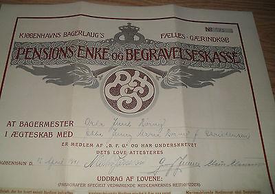 seltener alter MEISTERBRIEF BÄCKER 1941 Kopenhagen DÄNEMARK antik 3