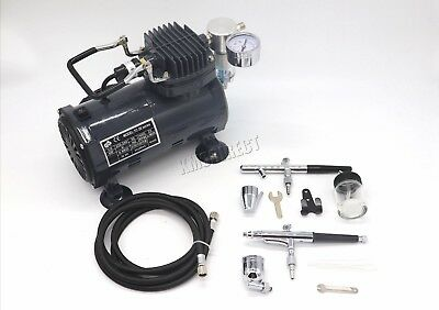 Switzer AS18 Airbrush With Compressor - Double Action Air Brush Spray Kit Paint 2