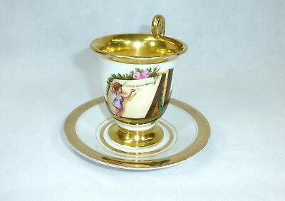 Biedermeier Tasse mit Untertasse um 1850 2