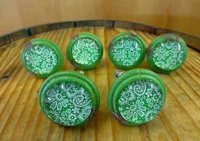 6 GREEN-WHITE LACE GLASS DRAWER CABINET PULLS KNOBS VINTAGE DISTRESSED hardware 2