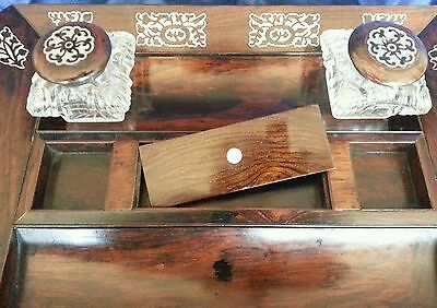 A William lV . Rosewood veneered Desk Standish / Ink well stand.Circa 1830's 5