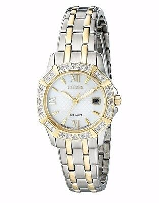 Citizen Eco-Drive Women's EW2364-50A Two-Tone Diamond Bezel Bracelet 26mm Watch 3