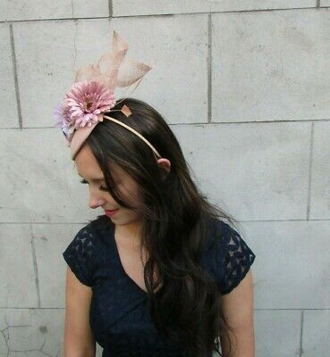 Nude & Lilac Light Purple Flower Feather Hat Fascinator Races Wedding Hair 9042 3