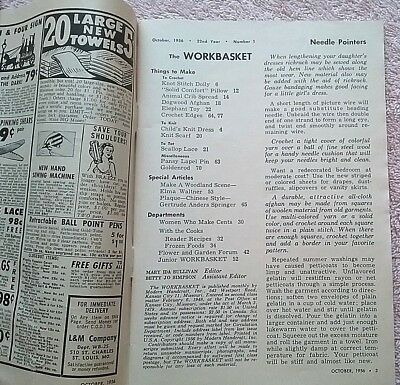 Vintage Workbasket Magazine Oct. 1956 Needlecraft Knit Crochet 3