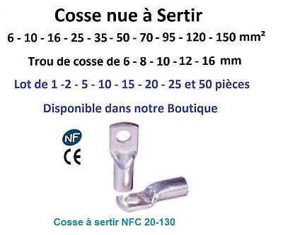 Cosse electrique à sertir 6 ou 10 ou 16 ou 25 ou 35 mm²  lot de 2 - 5 -10 pièces 2