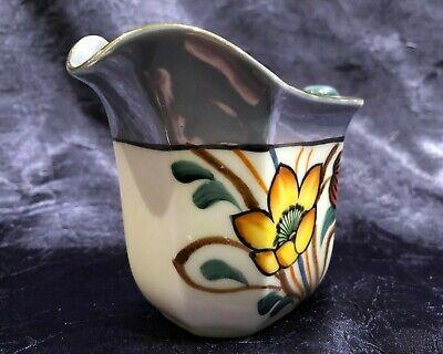 Vintage NORITAKE 1918; Green+Blue Lustreware Ceramic Hand-Painted-Floral Creamer 10