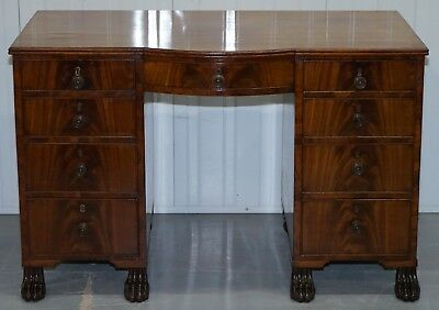 Exquisite Regency Period 1815 Mahogany Kneehole Desk With Lion Hairy Paw Feet 2