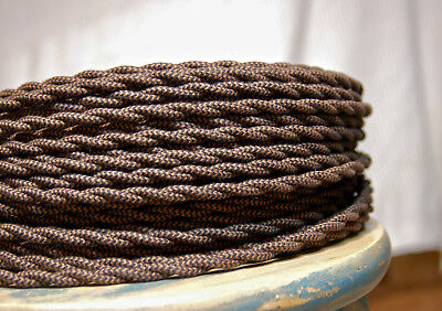 Cloth Covered Twisted Wire -Black/Brown Pattern, Vintage Style Braided Lamp Cord