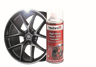 Alloy Wheel Paint Spray SPEED GLOSS BLACK + CLEAR GLOSS LACQUER 6 Cans TECHNIQ 3