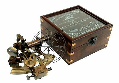 Antique Brass Working Nautical Sextant Vintage Maritime Astrolabe Wooden Box NEW 2